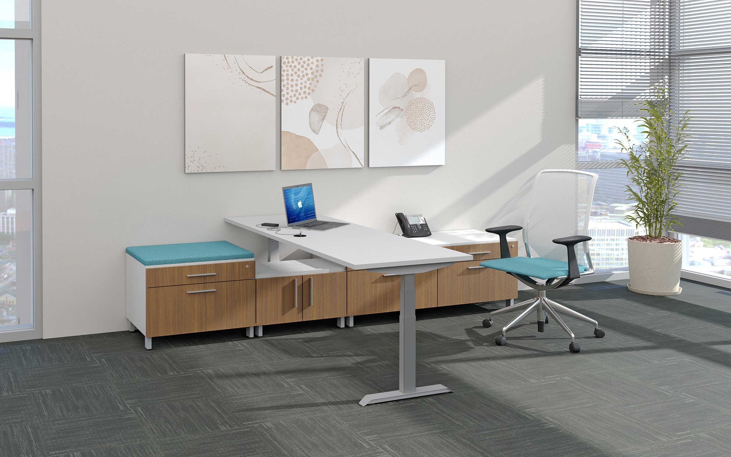 Exec. office with hight adjustable desk